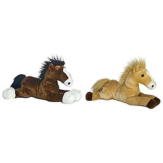 Bundle of 2 Aurora Plush 14 L Horses - Captain and Butterscotch