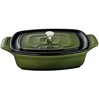 La Cuisine 22 Oz Mini Rectangular Enameled Cast Iron Covered Dutch Oven, Green