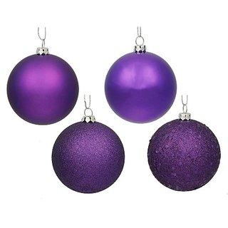 Vickerman 4-Finish Ornament Set, Includes 60 Per Box, 2.4-Inch, Purple