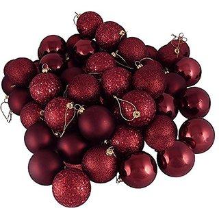 Vickerman 4-Finish Ornament Set, Includes 96 Per Box, 1.6-Inch, Burgundy