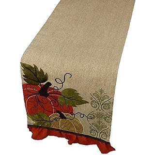 Xia Home Fashions Pumpkin Embroidered Polyester with Suede Accents Fall Table Runner, 13 by 72-Inch