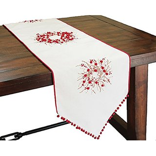 Xia Home Fashions Handmade Holiday Berry Wreath Ribbon and Pom Pom Embroidered Christmas Table Runner, 16 by 54-Inch