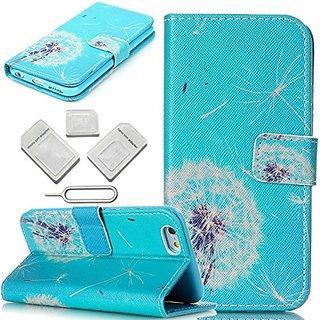 iPhone 6 6S Case,GoodOkay [Blue Dandelion] Colorful Pattern Design PU Leather Flip Stand Wallet Case [Built-in Credit Ca