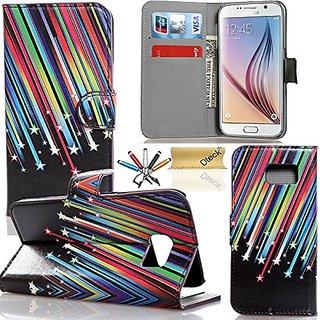 S6 Case,Galaxy S6 Case,Dteck(TM) Colorful Floral Flower Pattern Premium PU Leather Flip Kickstand Case [Wallet Function]