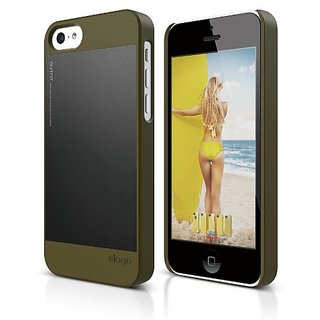 elago S5 Outfit Morph Aluminum and Polycarbonate Dual Case for the iPhone 5C - eco friendly Retail Packaging (Camo Green
