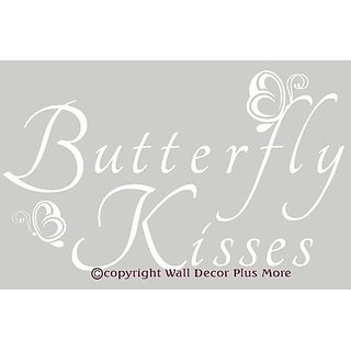 Wall Decor Plus More Butterfly Kisses Wall Vinyl Sticker Saying Sticker 23.5W x 14H - White White