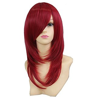 Icoser Sexy Women Synthetic Hair Wigs Red Cosplay Wig Costume and a Wig Cap Black and a Hair Comb