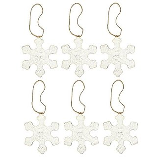Christmas Decoration Antique Snowflake Ornaments - 6 inches - Pack of 6