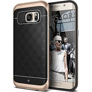 Galaxy S7 Edge Case, Caseology [Parallax Series] Modern Slim Geometric Design [Black / Gold] [Textured Grip] for Samsung