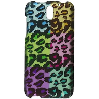 HR Wireless HTC Desire 610 Rubberized Design Cover - Retail Packaging - Colorful Leopard