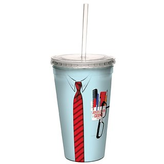 Tree-Free Greetings cc34244 Jesus Geeks: John 3:16 Artful Traveler Double-Walled Cool Cup with Reusable Straw, 16-Ounce