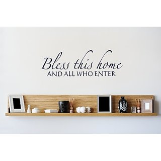 Design with Vinyl Design 422 - Navy Blue Bless This Home and All Who Enter Welcome Sign Picture Art Inspirational Script