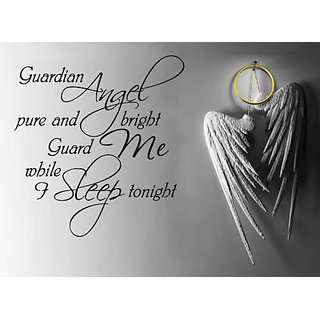 Guardian Angel Pure and Bright Guard Me While Sleep Tonight Wall Decal Quote Sticker Living Room Decor Wide 48cm High 45