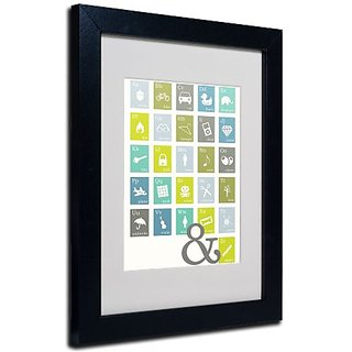 Trademark Fine Art Alpha Bits Cooled by Megan Romo Canvas Wall Artwork, Black Frame, 11 by 14-Inch