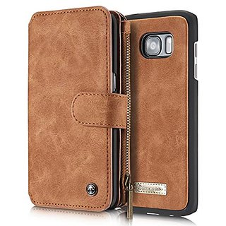 AIREBO 5161757 Dermis Handmade Genuine Cowhide Wallet Type Leather Case with Zipper for Samsung Galaxy S7 Edge, Coffee B