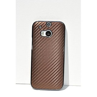 HTC One M8 Case Brown Fashionable Carbon Fiber Pattern Design Aluminum Plated Hard Plastic Protective Skin Cover Case fo