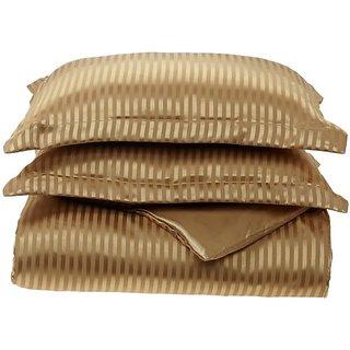 Divatex Home Fashions Royal Opulence Woven Satin Stripe Full/Queen Duvet Mini Set, Brass