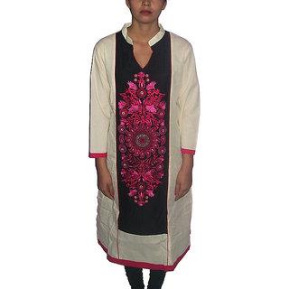 Gayitri Fashion Women's Cotton kurta (GFHSK020-Cream-XLarge)