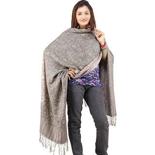 Kaarigar Hand Weaved Embroidery Reversible Warm Scarf Stole 121