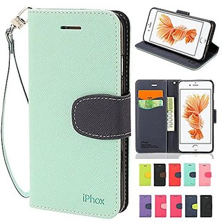 various colors da495 ab48b iPhone 6 Case, IPHOX iPhone 6S Wallet Case with Kickstand and Flip  Cover,Green & Blue - C