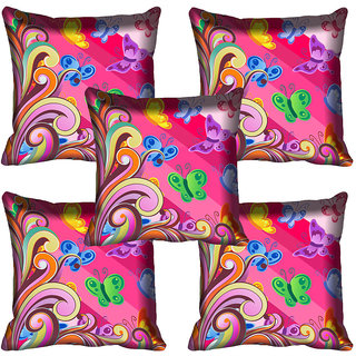 meSleep Pink Butterfly Digitally Printed Cushion Cover (20x20)