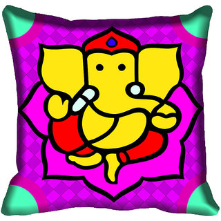 meSleep Beautiful Ganesh Digital Printed Cushion Cover 12x12