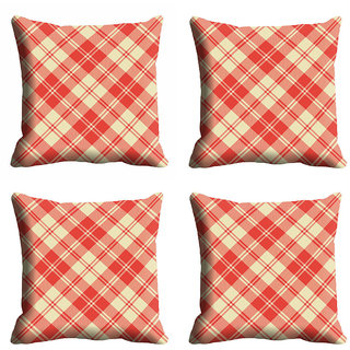 meSleep Red Checks Cushion Cover (12x12)
