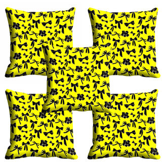 meSleep 3D Yellow Printed Cushion Cover (18x18)