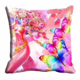 meSleep 3D Multi Colour Butterfly Girl Cushion Cover (20x20)