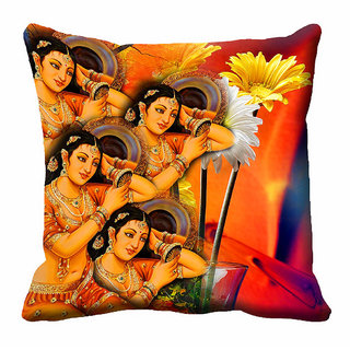 meSleep Multi Colour Floral Lady's Cushion Cover (20x20)