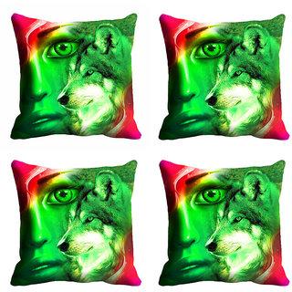 meSleep 3D Green Face Cushion Cover (12X12)