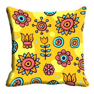 meSleep Yellow Floral Cushion Cover (20x20)