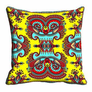 meSleep Yellow Ethnic Cushion Cover (20x20)