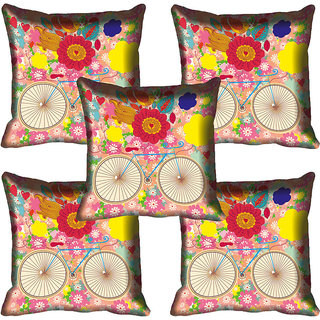 meSleep Multi Floral Digitally Printed Cushion Cover (12x12)