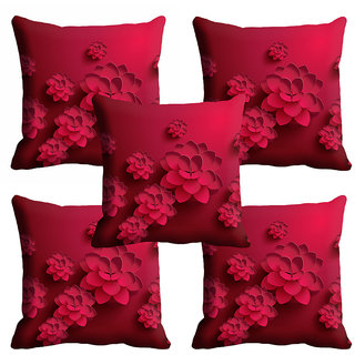 meSleep Pink Floral Cushion Cover (20x20)
