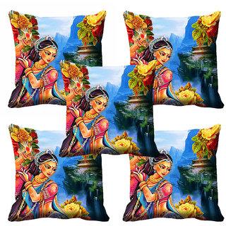 meSleep Multi Colour Dancing Girl Cushion Cover (18x18)
