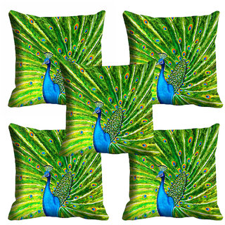 meSleep Green Peacock Cushion Cover (18x18)