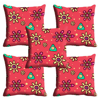 meSleep Red Ethnic Cushion Cover (20x20)