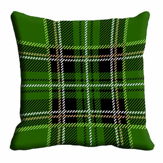 meSleep Green Checks Cushion Cover (20x20)