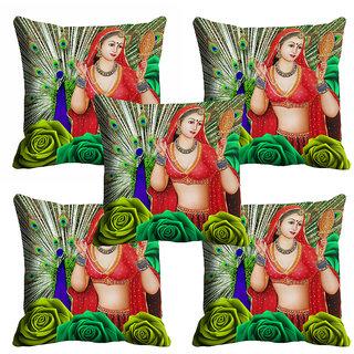 meSleep Beautiful Lady With Peacock Cushion Cover (12X12)