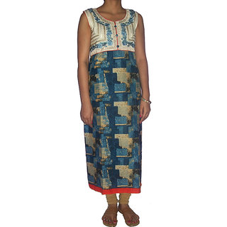 Gayitri Fashion Women's Cotton kurta (GFHSKK023-Blue-Medium)