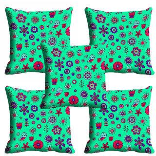 meSleep Green Floral Cushion Cover (20x20)