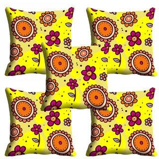 meSleep Yellow Floral Cushion Cover (12x12)