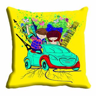 meSleep Blue Car Cushion Cover (12x12)