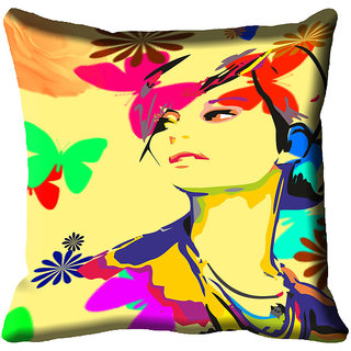 meSleep Beautiful Lady Digital Printed Cushion Cover 12x12