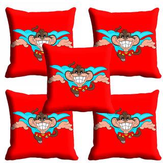 meSleep 3D Red Monkey Cartoon Cushion Cover (18x18)