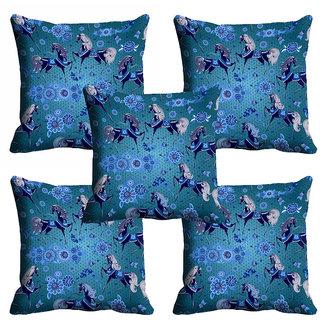 meSleep 3D Blue Horse Cushion Cover (18x18)