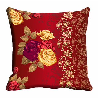 meSleep Red Floral Cushion Cover (12x12)