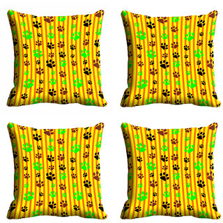 meSleep Yellow Footprint Cushion Cover (18x18)