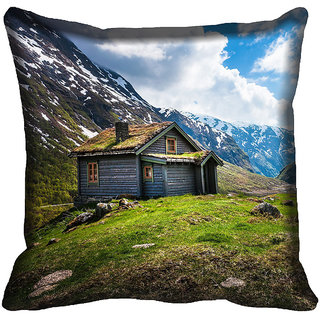meSleep Blue House Digital Printed Cushion Cover 12x12